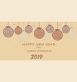 beautiful festive card with balls brown toys vector image vector image