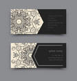 Black and white business card mandala vector image
