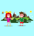 boy and girl nature flat design landscape vector image vector image