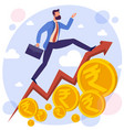 businessman running along growing chart vector image