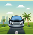 car travel vacation road landscape city background vector image vector image