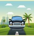 Car travel vacation road landscape city background
