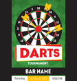 cartoon darts tournament poster for bar vector image vector image