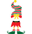 christmas elf green and red hat elf vector image vector image