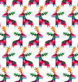 christmas seamless pattern with colorful deers vector image