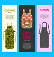 colorful kitchen aprons set of banners vector image