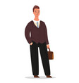 confident businessman is standing with a briefcase vector image vector image