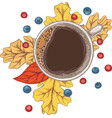 cup coffee autumn leaves and berries vector image vector image
