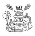 cute adorable animals cartoon vector image vector image