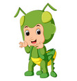 cute boy cartoon wearing grasshopper costume vector image vector image