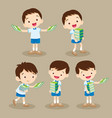 cute student boy carrying books vector image vector image