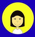 dark black haired girl in a white shirt avatar vector image vector image