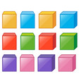different cube boxes in many colors vector image vector image