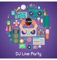 DJ Music Party Icons Set with Musical Instruments vector image