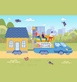 family moving house truck hauling little house vector image vector image