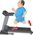 fat man running on treadmill vector image