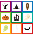 flat icon celebrate set of witch cap fortress vector image vector image