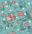 floral seamless pattern hand drawn vector image vector image