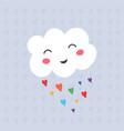 funny kawaii cloud on rainbow vector image vector image