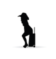 girl silhouette figure with travel bag in black vector image vector image