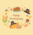 happy thanksgiving celebration lettering turkey vector image vector image
