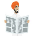 hindu businessman reading newspaper vector image vector image