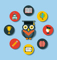 icons set graduate owl vector image vector image