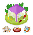 isometric bbq picnic party in tent summer camp vector image vector image