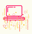Laptop on abstract colorful geometric light vector image