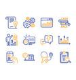 marketing statistics cogwheel and heart icons set vector image vector image
