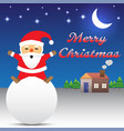 merry christmas - santa claus sitting on snow ball vector image vector image