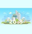 modern eco city - colorful flat design style vector image vector image