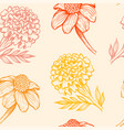 pattern with orange and yellow flowers vector image vector image