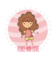 peace and love cartoons vector image vector image
