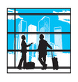 People waiting at airport vector image