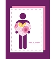 pink field flowers man in love silhouette frame vector image