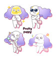 pretty dog character4 different actions vector image