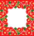 red alcea rosea border - hollyhocks vector image vector image