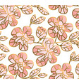 rosy and gold sakura flowers seamless pattern vector image