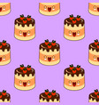 seamless pattern of smiling kawaii style cake on a vector image vector image