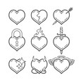 set of line art hearts vector image vector image