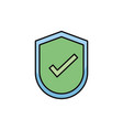 shield protection check mark internet flat line vector image
