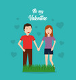 smiling happy couple holding hands valentines day vector image