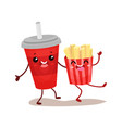 soda drink and french potato characters are best vector image vector image