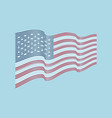 Usa flag on blue background wave stripes f