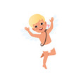 cute blonde baby cupid character having fun happy vector image