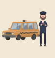 a taxi driver is waiting outside his car vector image