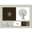 Business card collection abstract tree design vector image