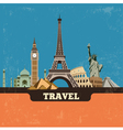 Travel world landmark background vector image
