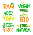 100 percent organic natural food sign set vector image